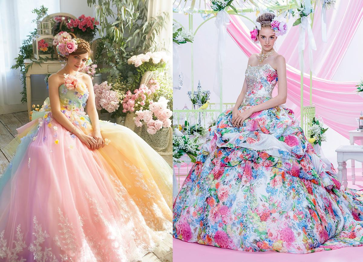 人気ブランドstellaのカラードレスを着た女性