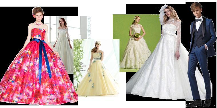 カラードレスとウェディングドレスと着た女性モデルとタキシードを着た男性